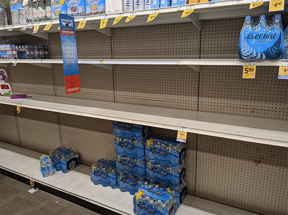 people are buying extra, so some shelves are empty