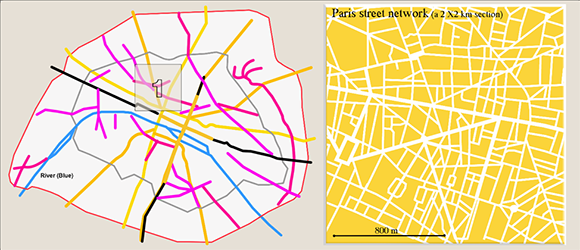 Paris historical urban roads and current urban street structure