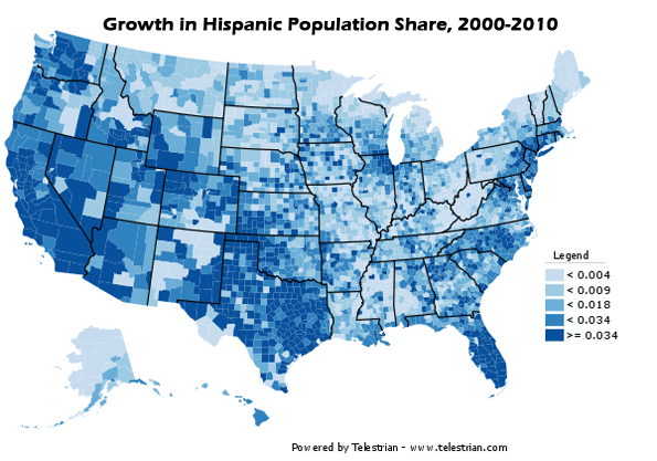 hispanic population as change in percentage of total population 2000 2010 note legend values not multiplied by 100