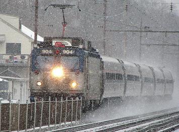 Amtrak - Keystone in snowstorm; Wayne PA.JPG