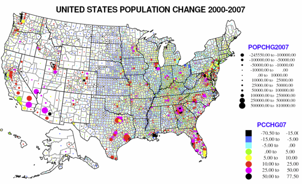 United States Population Change Map Newgeographycom - Us map with population
