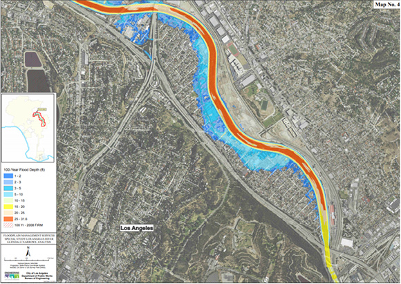 LA City Bureau of Engineering projection of 100-year flood in Frogtown neighborhood, also known as Elysian Valley