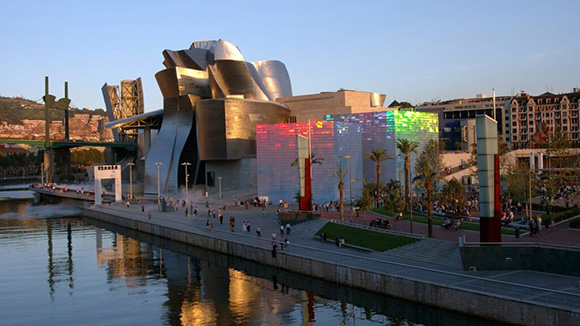 Guggenheim in Bilbao: world-famous edifice, city's new reputation supported by 7,000 cubic feet of concrete