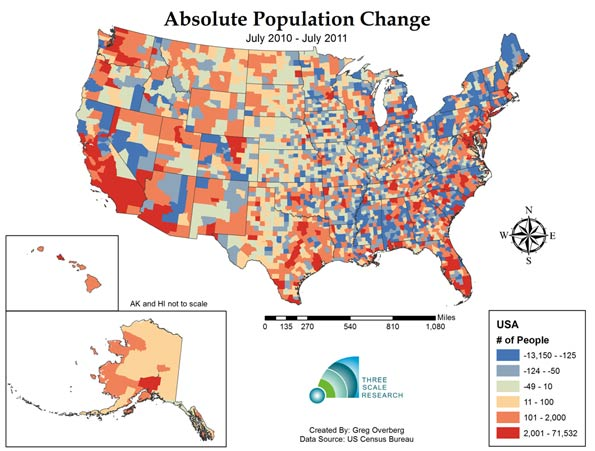 Is Negative Population Growth Upon Us Deaths Exceed Births In One - Us-population-map-by-county