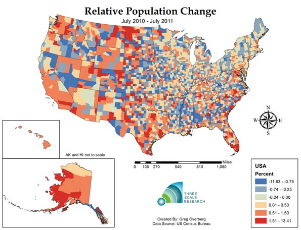 Map Figure Three Estimated Relative Change In Population From July 1 2010 To July 1