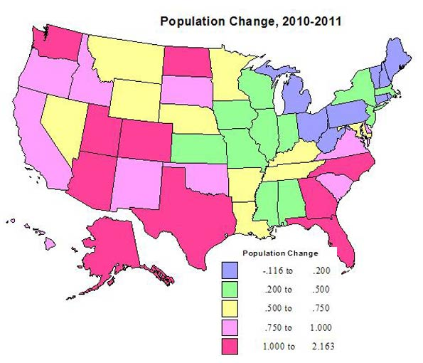 Population Change Interesting Differences - Us sunbelt map
