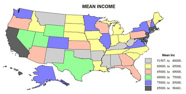 The Emerging Geography Of Inequality Newgeographycom - Income inequality map of the us