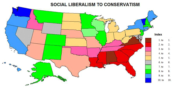 The Geography Of Cultural Attitudes Newgeographycom - Conservative dominance states in the us map