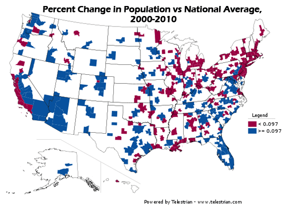 Census Offers Portrait Of America In Transition - Map of us population change 2000