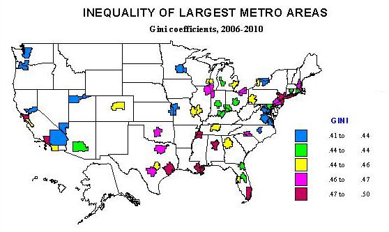 Inequality Of The Largest US Metropolitan Areas Newgeographycom - Us metro map